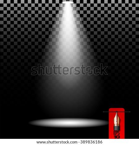 Vector stage spot light. Cold white lighting element - stock vector