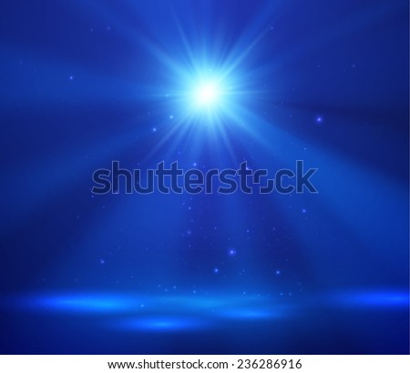 Vector stage spotlight background with light burst. Eps10. - stock vector