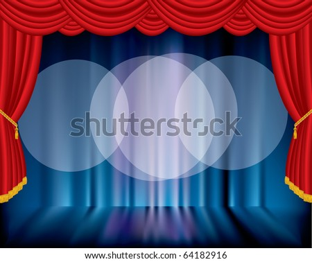 vector stage with blurry background and three spot lights - stock vector