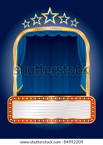 vector stage with five stars and blank billboard - stock vector