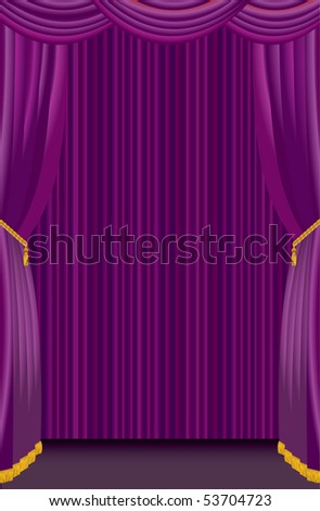 vector stage with purple curtain - stock vector