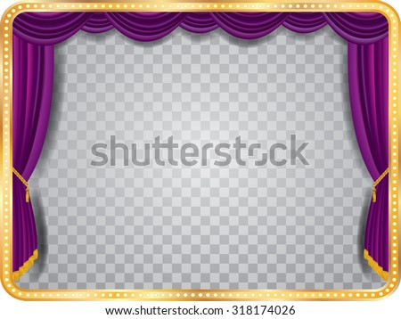 vector stage with purple curtain, golden frame, bulb lamps and transparent shadow - stock vector