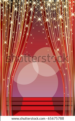 vector stage with red carpet and abstract golden curtain - stock vector