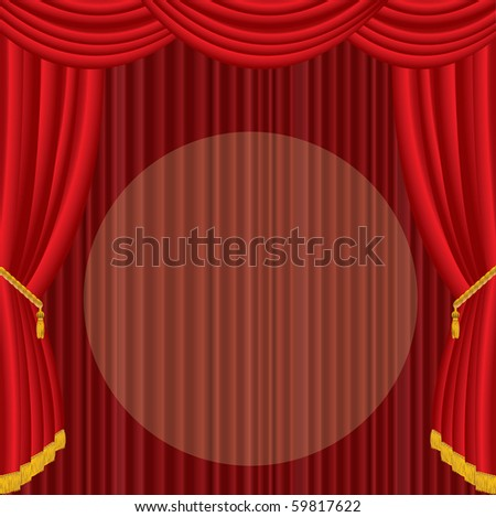 vector stage with red curtain and big spot light - stock vector
