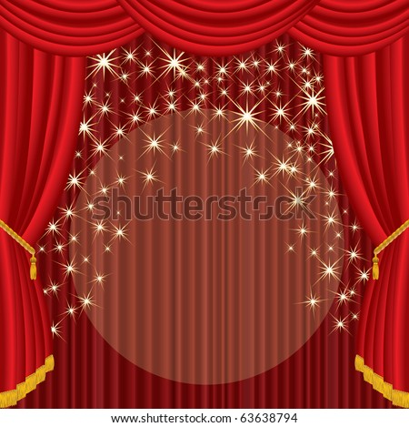 vector stage with red curtain and falling stars - stock vector