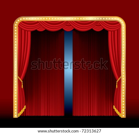vector stage with red curtain and frame with bulb lamps - stock vector