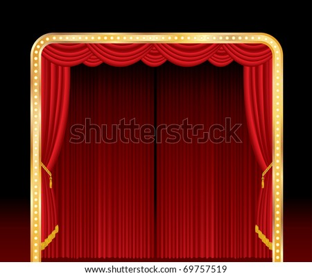 vector stage with red curtain and golden frame - stock vector