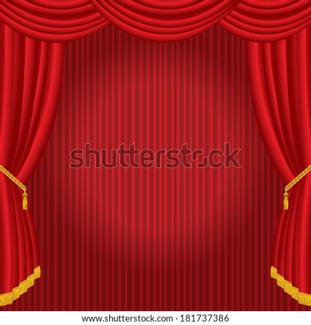 vector stage with red curtain and spot light  - stock vector