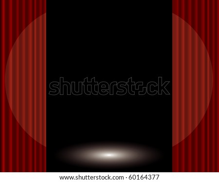 vector stage with red curtain and spotlight - stock vector