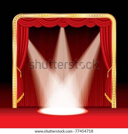 vector stage with red curtain and three spots - stock vector