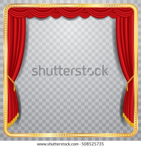 Vector Stage Red Curtain Golden Frame Stock Vector 508525735 ...