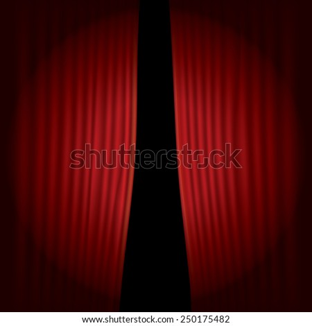 vector stage with red velvet curtain and spot light - stock vector