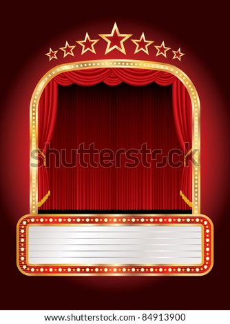 vector stage with seven stars and blank billboard - stock vector