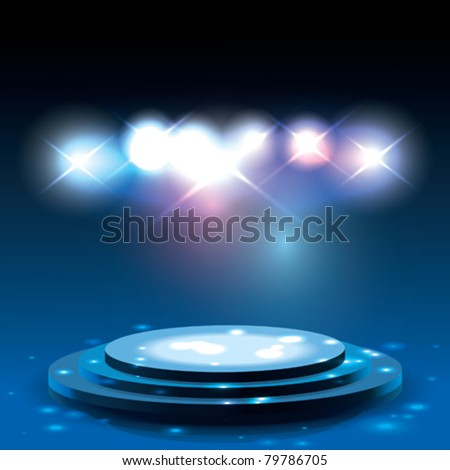 Vector Stage with sparkles - stock vector