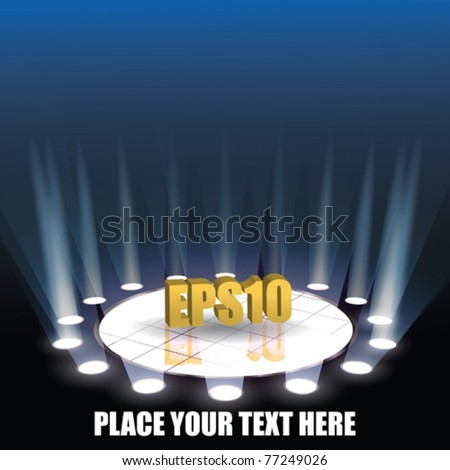 Vector Stage with spotlights - stock vector