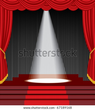 vector stage with stairs and one white spot light - stock vector