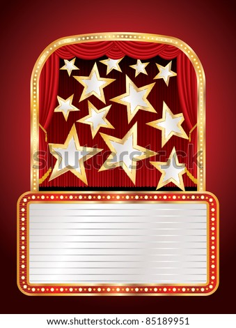 vector stage with stars and billboard - stock vector