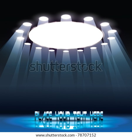 Vector Stage with Text and Spotlights - stock vector
