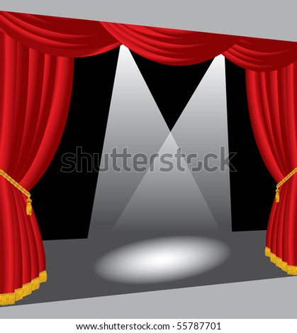 vector stage with two spotlights - stock vector