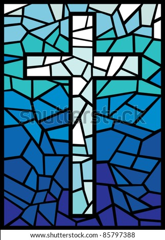 Vector Stained Glass Cross Stock Vector 85797388 ...