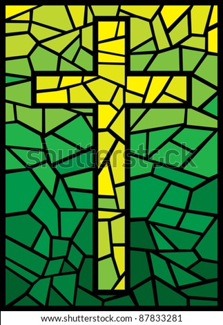 vector stained glass cross (cross in stained glass style) - stock vector