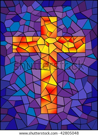 vector stained glass cross in bright vivid colors - stock vector