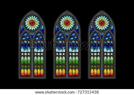 Vector Stained Glass Gothic Window Design