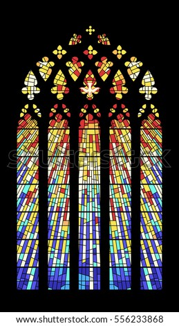 Vector Stained Glass Window Ancient Cathedral Temple Church