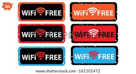 Vector: Stamp or sticker, icons, label wifi free collection. Eps10. - stock vector