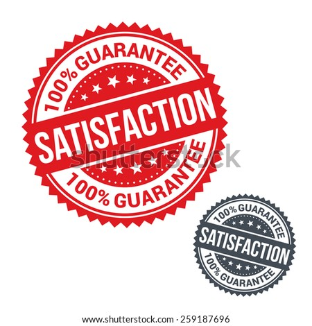 Vector stamp 100% satisfaction guarantee. Use for label, sign or sticker - stock vector
