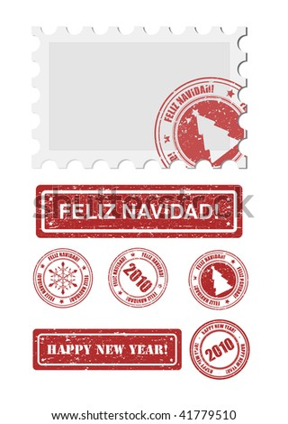 vector stamp with feliz navidad and new year words - stock vector