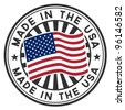 Vector stamp with flag of the USA. Lettering Made in the USA. - stock photo