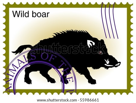 "vector stamp with ""wild boar"" eps10 - stock vector"
