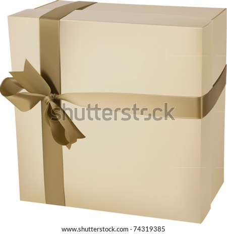 vector standing giftbox wrapped with a ribbon - stock vector