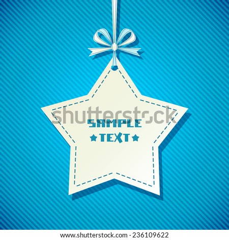 Vector star banner tag. Blue background with ribbon and bow. Decorative illustration for print, web - stock vector