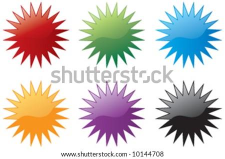 Vector star burst icon symbols - stock vector