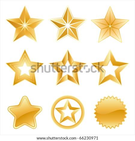 vector star icon set - stock vector