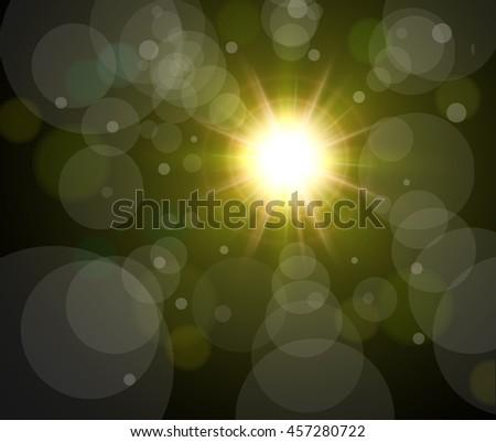 Vector star, sun with bokeh lens flare background - stock vector