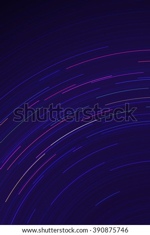 Vector star trails. Long exposure effect of night sky in motion. Space galaxy lights trace. Astrophotography wallpaper. - stock vector