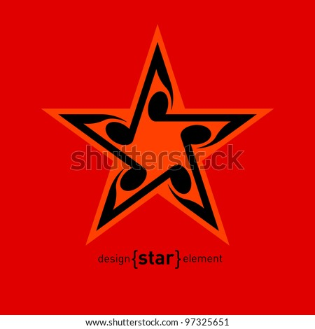 Vector Star with wavy notes. Company Logo template - stock vector