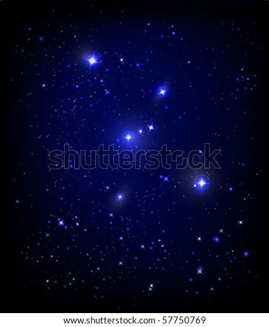 vector starry night sky and Orion nebula - stock vector