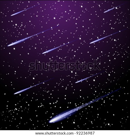 Vector starry night sky with meteor shower - stock vector