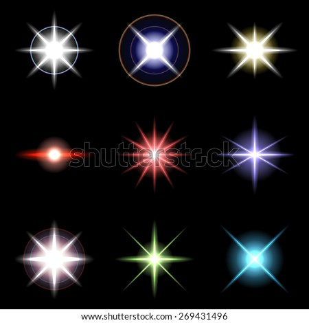 Vector Stars and sparkles - collection of design elements  - stock vector