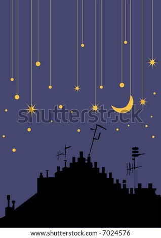 vector - stars and urban silhouette - stock vector