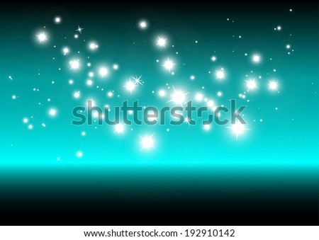 Vector stars in blue space  background design illustration  - Shiny sparkles and glitters background template - stock vector