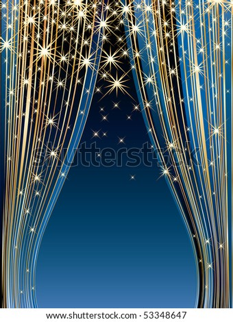 vector stars on blue stage - stock vector