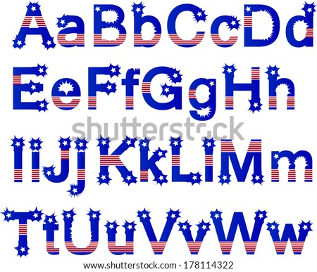 vector - Stars & Stripes Alphabet. Original design, mix & match in red, white & blue. For Fourth of July, summer picnics, reunions, patriotic celebrations.