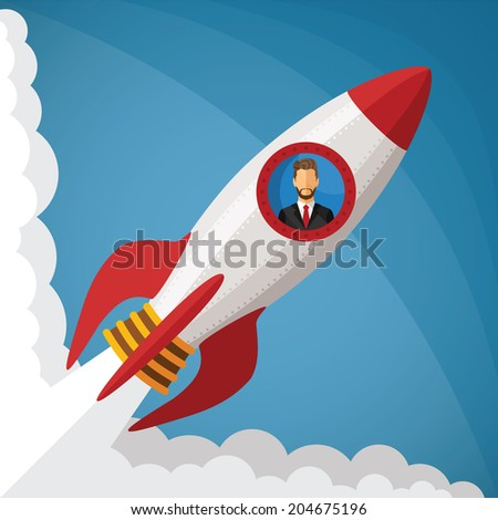 Vector start up business concept with businessman in space rocket window - stock vector