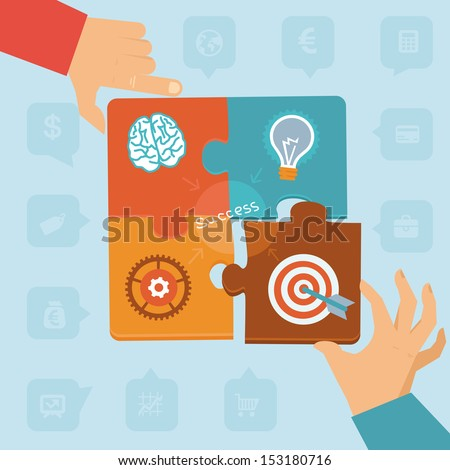 Vector start up success - puzzle peaces with icons and signs - stock vector