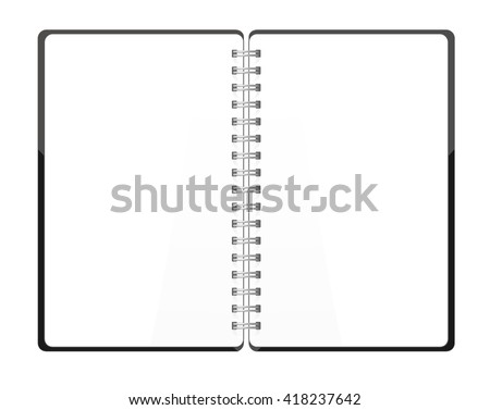 Vector. Stationery. An open pocket book / diary / notebook / scrapbook / textbook / notepad / organizer / sketch book / journal / drawing pad. Isolated illustration. White blank pages - stock vector